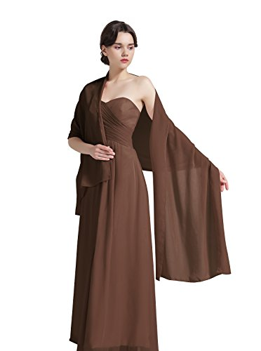 """Sheer Soft Chiffon Bridal Women's Shawl For Special Occasions Cocoa 79"""" Long 20"""" Wide"""