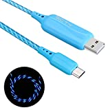 ECTY USB Cable, 2.6ft Visible Flowing LED USB High Speed Chargering Cable Light Up Charger Sync Data Cord for Android Devices, Samsung, Sony, HTC, Motorola and More(Blue)