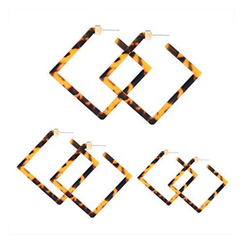 YAHPERN Acrylic Earrings Statement Square Hoop Earrings Geometric Resin Tortoise Stud Earrings Minimalist Dangle Earring Set for Women Girls