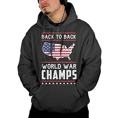 Back-to-Back World War Champs Men's Fleece Hoodie with Big Pockets Black