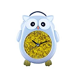 girlsight1 Blue Owl Alarm Clock Silent Non-Ticking Cartoon Quartz Loud Alarm Clock, Cute, Backlight, Personality Pattern owl- 171.Gold, Pattern, Yellow, Gold-Plated, Texture