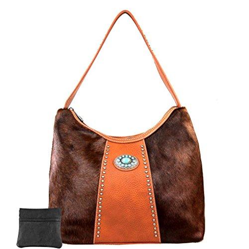 para mujer talla hombro de al Brown Hair única Bolso West W Montana Cuero q0B611
