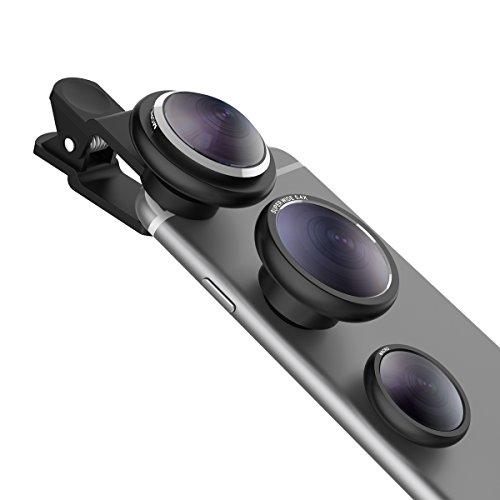 iPhone Kamera Objektiv,Vinsic® 3 in 1 Fisheye Objektiv 235 Grad Fischaugen Objektiv + 0,4X Weitwinkelobjektiv + Makro Objektiv Vorsatzlinsen für iPhone-Schwarz