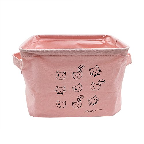Mziart Small Fabric Storage Basket with Handle, Foldable Can