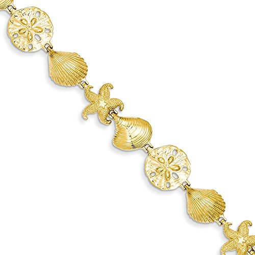 14k Sea Life Bracelet, Length: 7.25 in, 14 kt Yellow ()