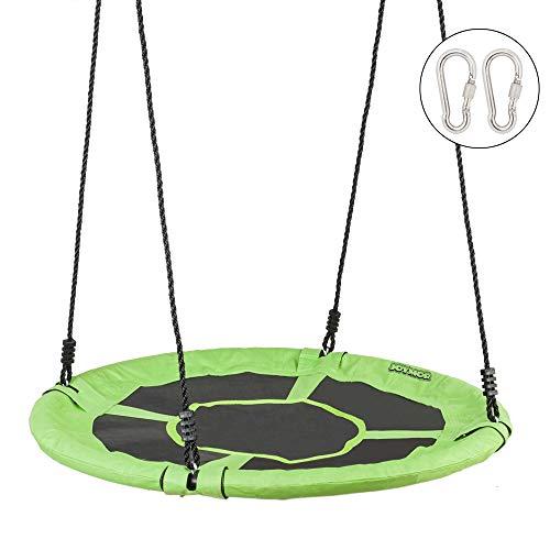 JOYMOR 40 Inch Diameter Round Oxford Detachable Swing with Adjustable Tree Rope,Great for Tree, Swing Set, Backyard, Playground, Playroom(Green)