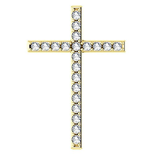 - Overlaid With White Sapphire Gold Cross Pendant, 18K Yellow Gold