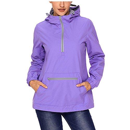 SEBOWEL Women's Raincoat Active Outdoor Waterproof Rain Jacket Hooded Windbreaker Lilac ()