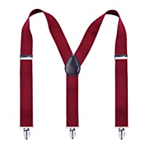 Alizeebridal 3.5CM Men's Solid Suspenders with 3 Clips - Maroon