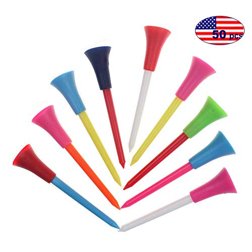 Kofull Plastic Rubber Cushion Top Golf Tees Professional 3-1/4inch Random Color Golf Practicing for Golfer-50Pack