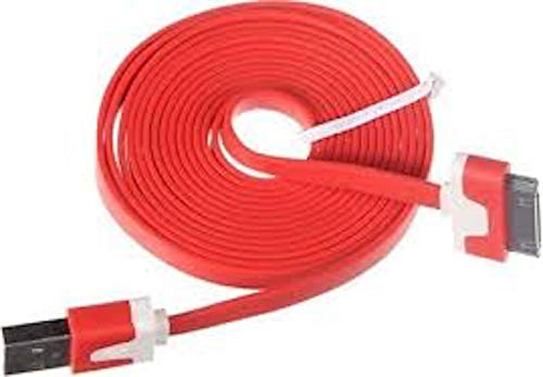 NTJ 1m (3ft) Flat Noodle Tangle Free Usb to 30pin Data Sync Charger Charge Cable Cord Adapter for Ios 6 Ios7 Iphone 4 4s (10 Colors to Choose From) (RED)