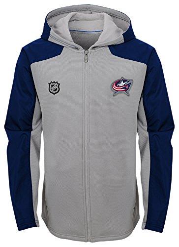 Outerstuff NHL Columbus Blue Jackets Kids & Youth Boys Delta Full Zip Jacket, Medium(10-12), Magenta Pique Heather
