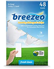 Breezeo Laundry Detergent Strips (Laundry Detergent Sheets), Fresh Linen Scent, 48 Loads – More Convenient than Pods, Pacs, Liquids or Powders – Great for Home, Dorm, Travel, Camping & Hand-Washing
