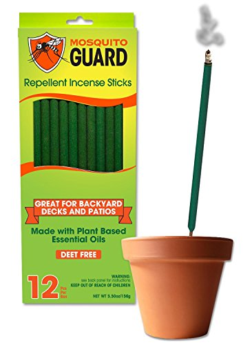 Mosquito Guard Incense Repellent Sticks - 12 Inch Incense Sticks Made with Natural Plant Based Ingredients: Citronella, Lemongrass & Rosemary Oil - 12 Sticks Per Box (Best Mosquito Repellent For Camping)