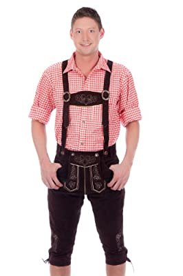 Bavarian traditional leather trousers Lederhosen with suspenders darkbrown