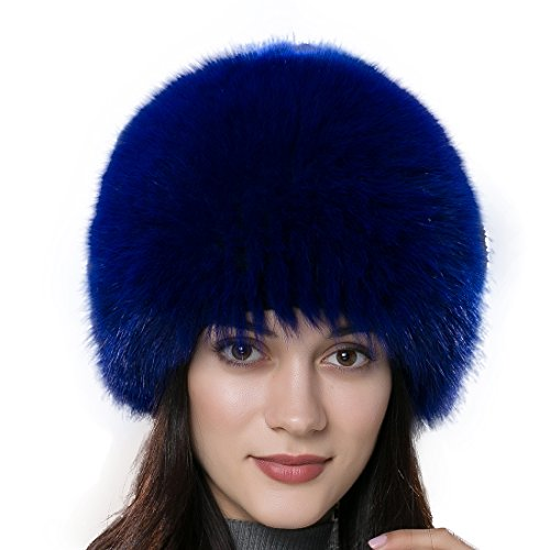 84f26d7ac13db URSFUR Winter Knit Fur Wig Women s Real Fox Fur Hat Caps Multicolor