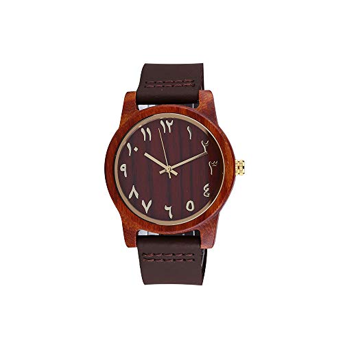 Wooden Arabic Numbers Numeral Watches Genuine Leather Band with Quick Release Pins (Dark Brown)