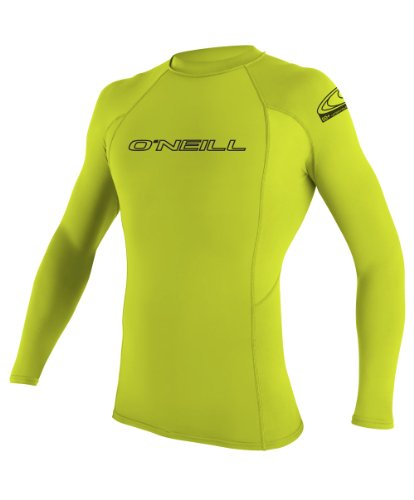 O'Neill Wetsuits UV Sun Protection Youth Basic Skins Long Sleeve Crew Sun Shirt Rash Guard, Lime, 10