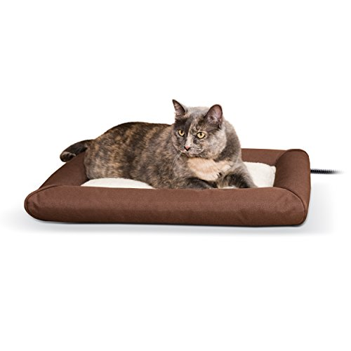 K&H Pet Products Deluxe Lectro-Soft Outdoor Heated Bed Small Chocolate/Tan 19.5