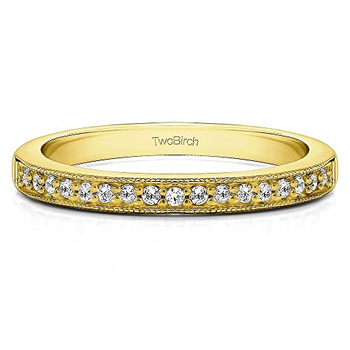 .13Ct Seventeen Stone Millgrained Pave Wedding ring 10k Yellow gold Diamonds G,I2(Size 3 to 15 1/4 Sizes) by TwoBirch