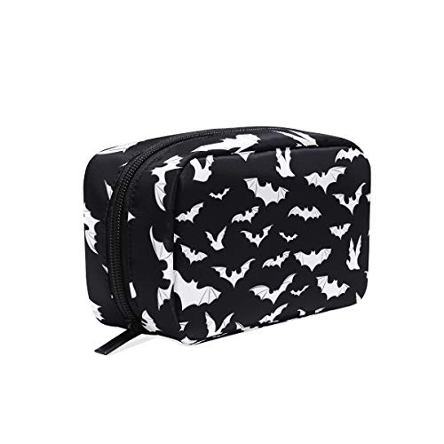 (Bats Halloween Goth Cosmetic Bags Organizer- Travel Makeup Pouch Ladies Toiletry Case for Women Girls, CoTime Black)