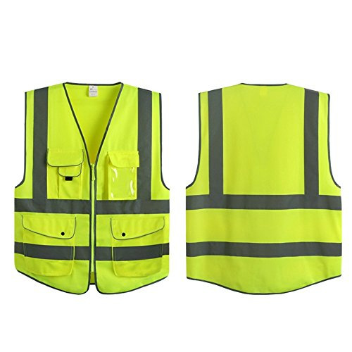 G & F Products Reflective Vest Safety Vest High Visibility with reflective strips multi-pockets ANSI Class 2 standard, Neon Green Size Medium 1
