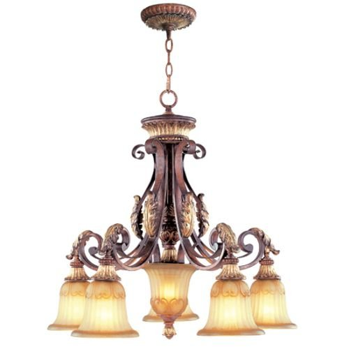 Livex Lighting 8575-63 Villa Verona 5 Light Verona Bronze Finish Chandelier with Aged Gold Leaf Accents and Rustic Art Glass - Lighting Villa Traditional Chandelier