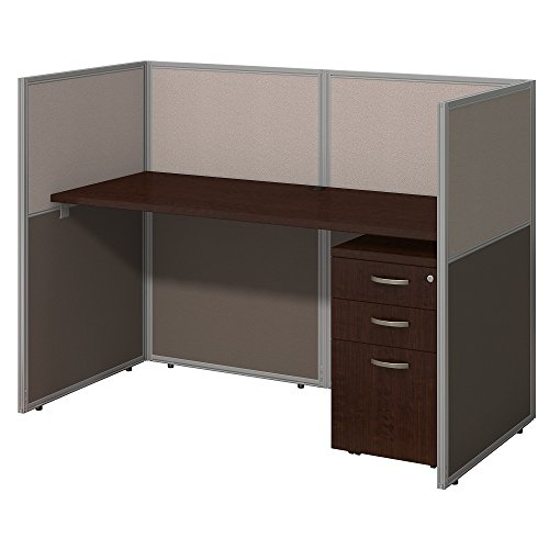 Easy Office 60W Straight Desk Closed Office with Mobile File Cabinet in Mocha (Straight Wall Mobile)