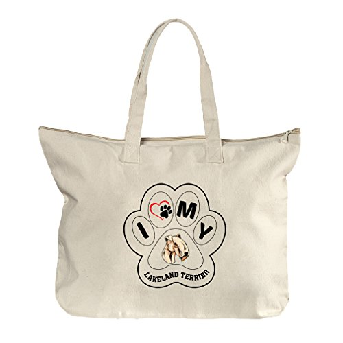 I Paw My Lakeland Terrier Dog Canvas Beach Zipper Tote Bag - In Lakeland Florida Shopping
