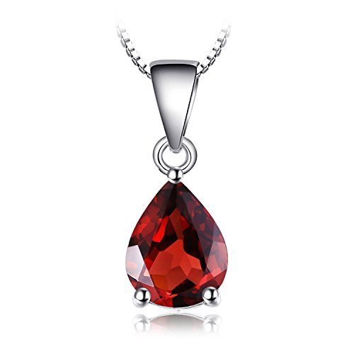 (JewelryPalace Gemstones Birthstone Necklace For Women 925 Sterling Silver Solitaire Pendant Necklace For Girls 2.2ct Natural Garnet Necklace Chain Box 18 Inches Pear Cut )