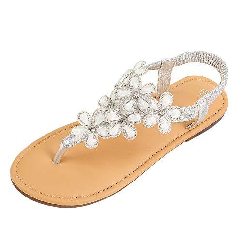 MURHS Summer Flat Gladiator Sandals for Women Comfortable Casual Beach Shoes Platform Bohemian Beaded Flip Flops Sandals Silver ()