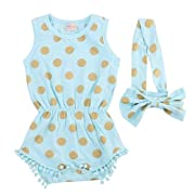 Baby Girl Clothes Gold Dots Bodysuit Romper Jumpsuit One-pieces Outfits Set (18-24 Months, Blue)