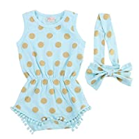 Baby Girl Clothes Gold Dots Bodysuit Romper Jumpsuit One-pieces Outfits Set (...