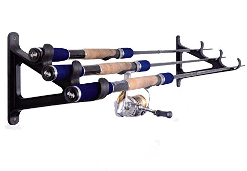 Cane Space Saver (Fishing Rod Wall Rack - Ultra Sturdy Strong Weatherproof Holds 3 Rods - Space Saving Organizer for Hiking Poles, Ski Poles, Hokey Sticks and Fishing Rods)
