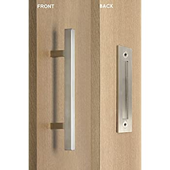 Modern and Contemporary Square Pull and Flush Door Handle Set