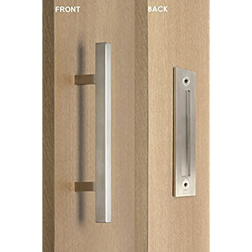 Gentil Modern And Contemporary Square Pull And Flush Door Handle Set / Commercial  / Residential Grade Stainless Steel / Satin Finish