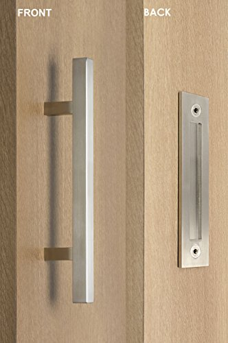 Door Flush Entry (STRONGAR Modern and Contemporary Square Pull and Flush Door Handle Set/Commercial/Residential Grade Stainless Steel/Satin Finish)
