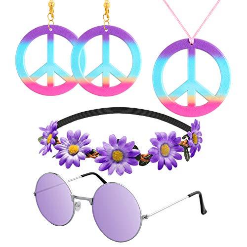 R HORSE 5 Pcs Hippie Costume Set Peace Sign Necklace Earrings Flower Headband Hippie Sunglasses 60s Purple Hippie Accessories for Women (Plastic Headband Peace)