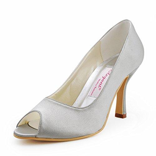 ElegantPark EP11017 Mujer Peep Toe Baile Tacón de Aguja Satén Boda Zapatillas Zapatos de Fiesta Plateado