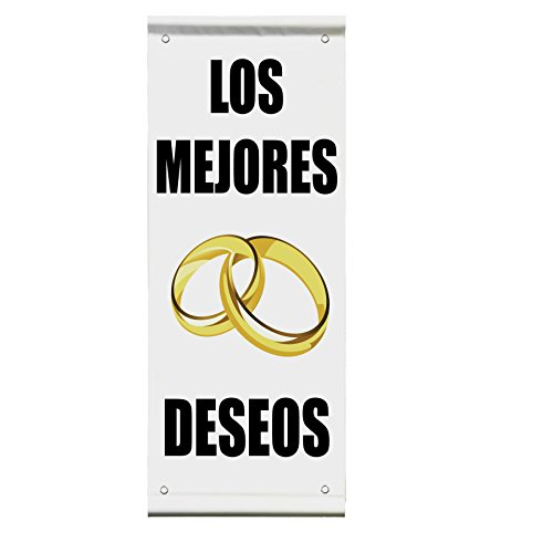 Best Wishes Wedding Marriage In Spanish Double Sided Vertical Pole Banner Sign 36 in x 72 in w/ Wall Bracket by Fastasticdeals