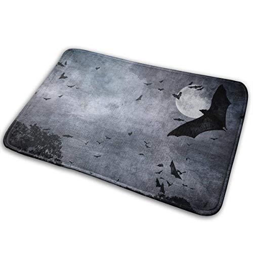 Feim-AO Halloween Moonlit Bats Anti-Slip Machine Washable Doormats