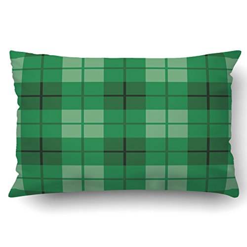 Beautiful Oval Checkerboard Shape (Emvency Pillowcases Xmas Dec Argyle Pattern In Shades Of Green Repeats Pillow Case Cushion Cover Case Throw Pillow Case Lumbar 20x30 Inch)