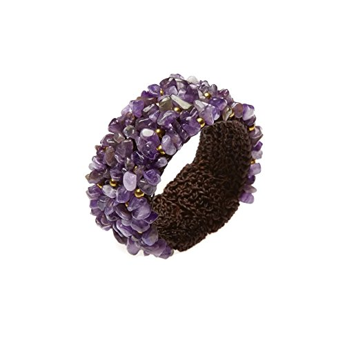 PtPt, Purple Amethyst Quartz Beads Stone Adjustable Bangle Wax Cord Wrap, Bracelet Fashion Jewelry Women