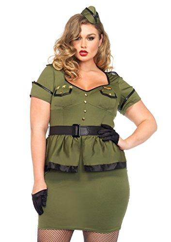 Leg Avenue Women's Plus-Size 3 Piece Commander Cutie Military Costume, Khaki, 3X