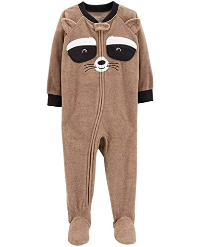 Carter's Boys' 1-Piece Fleece Pajamas (Brown/Raccoon, 2T)