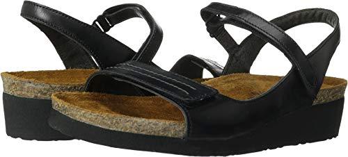 (Naot Women's Madison Wedge Sandal,Black Madras Leather,39 EU/7.5-8 M US)