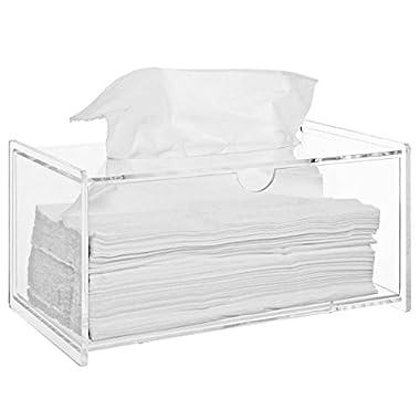 Modern Clear Acrylic Bathroom Facial Tissue Dispenser Box Cover / Decorative Napkin Holder - MyGift® Home