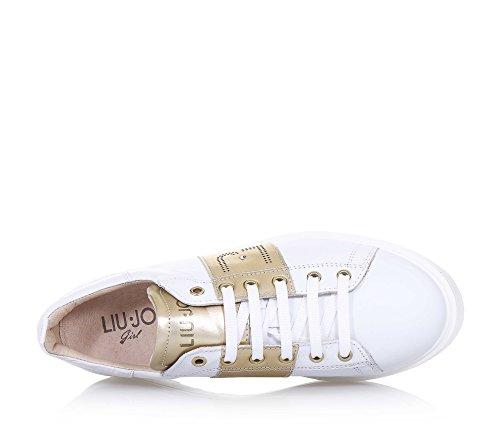 Italy logo Filles couleur à Fille la blanche lacets languette in bronze made avec Femme LIU Chaussure JO sur applications Femmes S7qwx0C