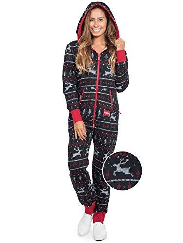 Tipsy Elves Mens and Womens Unisex Black & Red Fair Isle Reindeer Jumpsuit - Ugly Christmas Sweater Party Adult Onesie