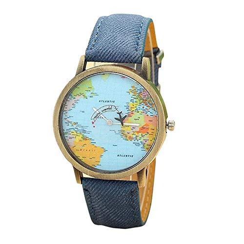 Unisex Retro Bronze Case Global Travel by Plane World Map PU Leather Band Quartz Watch (Blue) (Map Watches)